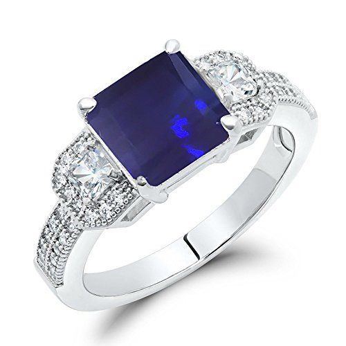Stunning blu zaffiro taglio principessa anello di fidanzamento in argento Sterling, argento, 57 (18.1), cod. XR-0235SP