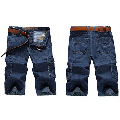 GITVIENAR Mens Loose Gerade Denim Short Entspannt Fit Klassische Plain Casual Plus Größe Farbe Dunkelblau Größe 38
