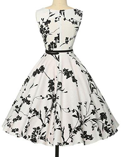 Damen rockabilly kleid 50er jahre kleid Blumenmuster festliche kleider Sommerkleid Größe M CL6086-11 -