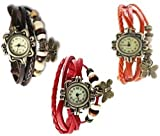 MKS Attractive 011 Analog Watch - For Girls Set of 3 Watch