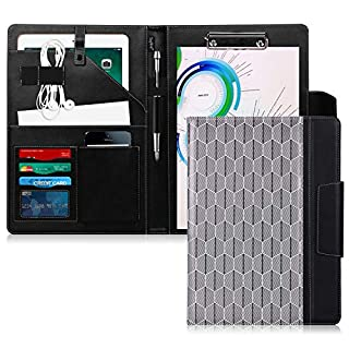 Toplive Portfolio Case Padfolio, Executive Business Document Organizer with A4 Size Clipboard, Business Card Holder, Tablet Sleeve, Perfect for Business School Office Conference, Tree-Black