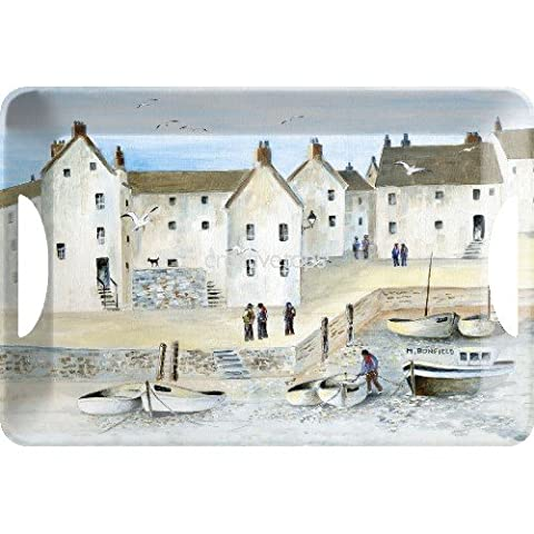 Creative Tops Cornish Harbour Luxury Handled Melamine Serving Tray, Plastic, Blue, Large