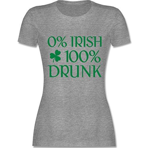 Shirtracer St. Patricks Day - 0% Irish 100% Drunk St Patricks Day - Damen T-Shirt Rundhals Grau Meliert