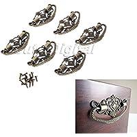 wrone (TM) 6Pomelli e maniglie in ottone anticato per mobili Maniglia Maniglie Pomelli Decorativi Mobili Raccordi