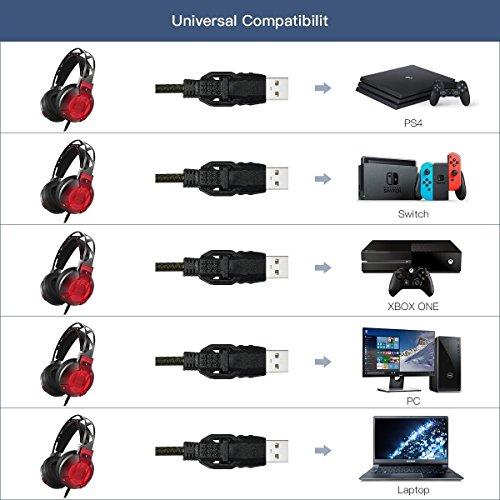 dodocool Auriculares Cascos Gaming con Micrófono Incorporado  Sonido Envolvente Virtual de 7.1  Aislamiento de Ruido  Gaming Headset con usb Puerto   luz LED para PC / Mac / PS4 negro