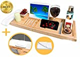 The Natural Source, vassoio da bagno in bambù, supporto per iPad/tablet/libro/bicchiere di vino, con un cuscino da spa e asciugamano per il viso