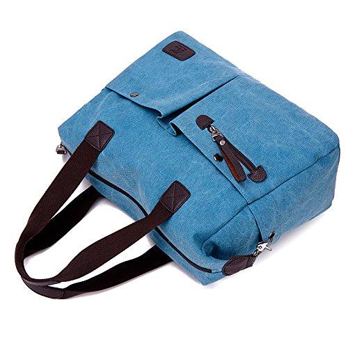 Damen Canvas Handtasche / Umhängetasche groß, Canvas Schultertasche Hobo Bags für Schule Büro Reise Shopping Gray