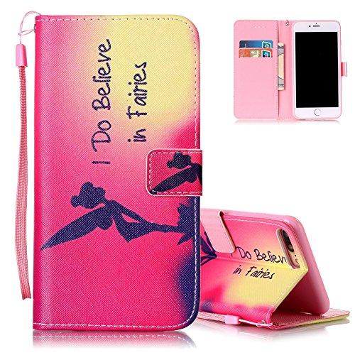 iPhone 7 plus Flip Ledertasche, Muster Book Case Cover für iPhone 7 PLUS, Aeeque® Slim [Standfunktion Kartenfach] Malerei Pink Lotus Bilder Leder Handy Tasche Klappetui Lederhülle Brieftasche Elf Mädchen