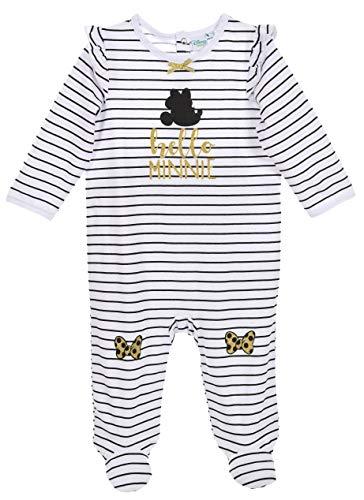 Disney Baby Strampler Mädchen weiß schwarz | Motiv: Minnie Mouse | Baby Schlafanzug mit goldenen Akzenten für Neugeborene & Kleinkinder | Größe: 6-9 Monate (74) (Kleinkinder Schlafanzug Disney Für)