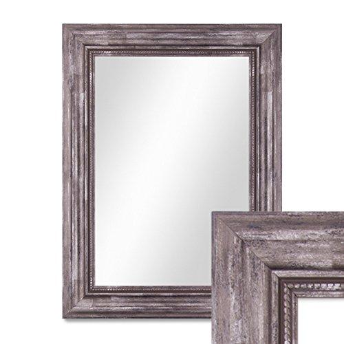 PHOTOLINI Wand-Spiegel 40x50 cm im Massivholz-Rahmen Barock-Stil Antik Silber/Spiegelfläche 30x40...