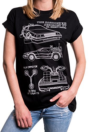 Oversize T-Shirt Damen schwarz mit Aufdruck locker lang lässig - 80er Jahre Rockabilly Motiv - Übergröße XXXL (Vintage 80er Jahre T Shirts)