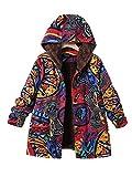 Frau Winter Warm Outwear, Quaan Blumen Drucken Jahrgang Übergröße Plus Größe Hoodie weich gemütlich draußen Glamourös Beiläufig Klassisch Baumwolle Leinen- Flauschige Pelz Reißverschluss Mantel