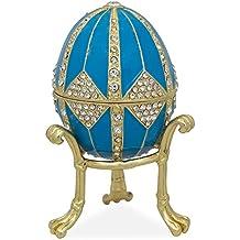 8cm cristallo rombo su smalto blu Faberge Inspired (Smalto Jeweled Trinket)