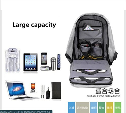 Anti-Theft Canvas Laptop Travel School Bags Backpack Rucksack with USB Charging Port (grey)