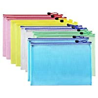 Supkeyer 10Pcs A4 Zipper File Folder Mesh Document Bags Separate Storage Pouch,Carry Easily,5 Colors