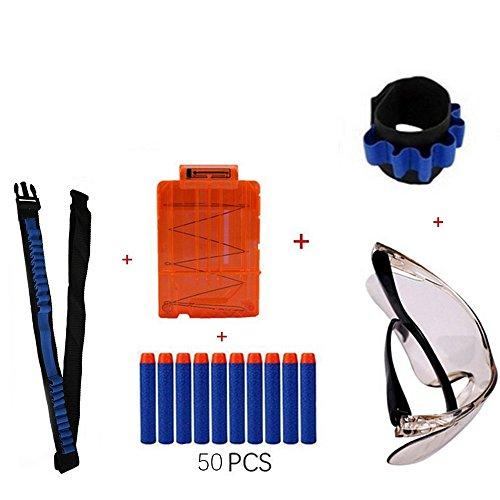 Nerf Spielzeug Gewehr N-Schlag Elite Reihe (1pcs schützende Schutzbrillen + 50pcs blauer Schaumdonts + 1pcs taktischer Handgelenk + 1pcs Bandolier Schultergurt Gürtel + 1pcs 5-Dart schnellen Reload Klipp)