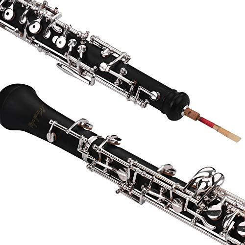 KKmoon Muslady Professional Oboe C Key Semi-Automatic Style Nickel-Plated Keys Woodwind Instrument with Oboe Reed Gloves Leather Case Carry Bag Cleaning Cloth Mini Screwdriver