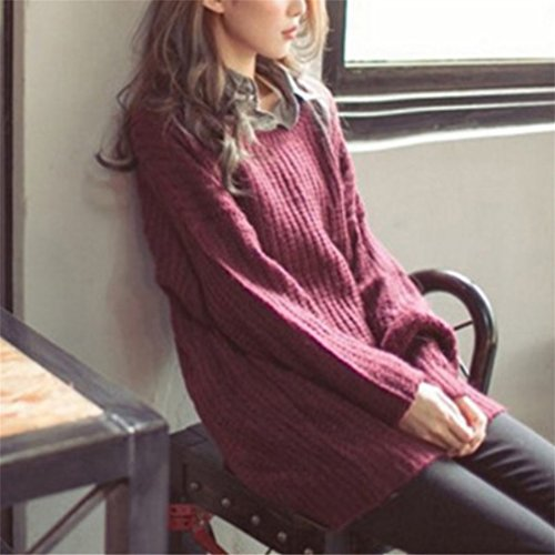 Honghu Loose Manches Longues Cou Rond Garder au Chaud Pull Femme Casual Pullover Sweater Rouge