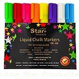 Chalk Markers 6mm 8 pack by Little Star ~ Reversible Tip Liquid Chalk Marker Bold / Chisel nib ~ Wet Erasable Chalk Pens Best for Chalkboards (Non-Porous) Blackboard, Whiteboard, Glass & Window, Bistro Boards & Kids Arts