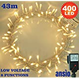 400 Warm White Indoor Fairy Lights - LED String Lights - 8 Functions/43 Meters - Power Operated - Ideal for Christmas Tree, Festive, Wedding/Birthday Party Decorations (400 LED 43M)