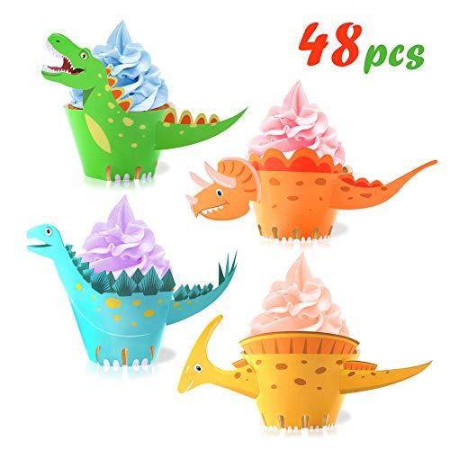 Howaf Dinosaurier Cupcake Wrapper, doppelseitig, Dinosaurier Kuchen Dekoration für Kinder Party Dinosaurier Geburtstag Deko Jungen Mädchen, 48 Stücke - Geburtstag Cupcake