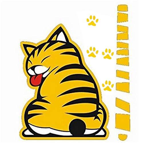Impermeable autoadhesivo decoración divertido de la historieta del gato Moviendo la cola Resistente a la decoloración pegatinas limpiaparabrisas de vehículo automóvil etiquetas del coche fuera