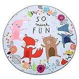 Jeteven Tappeti Bambini Cotone 150cm Portatile Sacco del Giocattolo Tappeto Gioco Tappeto per Il Fitness Bambini Che Strisciano (Fox)