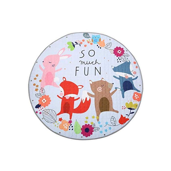 Jeteven Baby Krabbeldecke Matt Kinderzimmer Kinderteppich, groß und weich gepolstert mit AU Aufbewahrungsbeutel, ca.?150cm, Muster: Fuchs 1