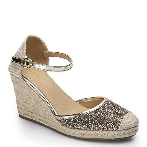 Ideal-Shoes Sandali e compensate paillettate Fabricia Oro (Oro)