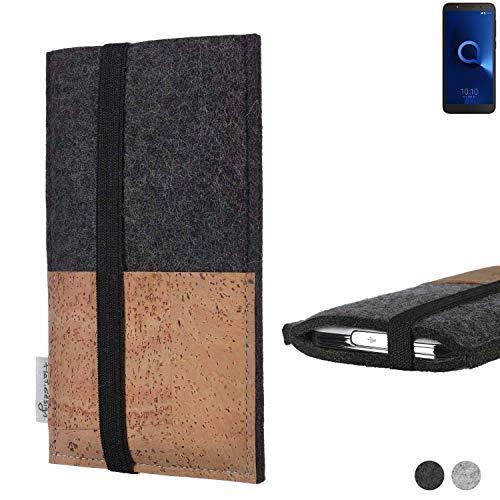 flat.design Handy Hülle Sintra für Alcatel 1C Single SIM Handytasche Filz Tasche Schutz Kartenfach Case Natur Kork