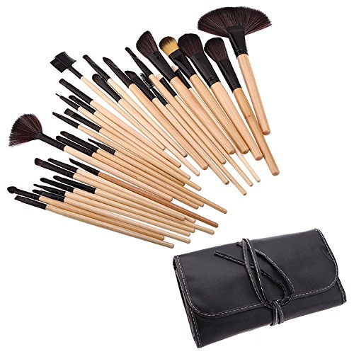 Vococal® 32 Pcs Maquillage Brosse Cosmétiques avec Noir PU Housse en Cuir