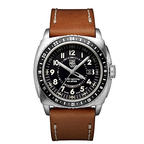 Luminox P-38 LIGHTNINGTM GMT Men's Quartz watch with Black dial featuring LLT Luminox light Technology 44 millimeters Stainless Steel case and Brown Leather Strap  XA.9427