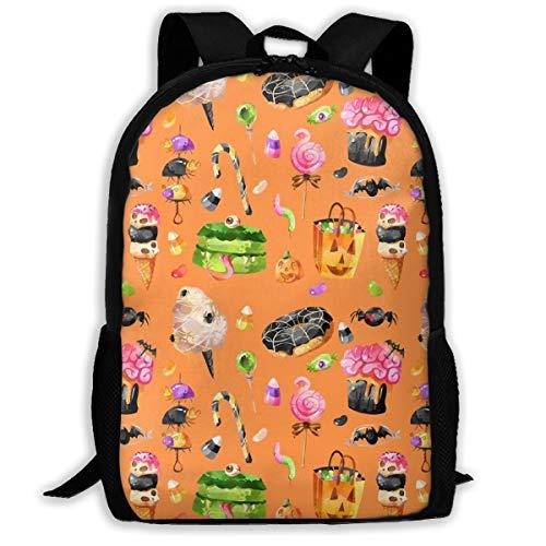 Klassischer Rucksack 4 gruselige Leckereien Halloween Orange_11754 Reise-Laptop-Rucksack, Extra große College School Student Rucksack für Männer und Frauen (Erwachsene Für Halloween-leckereien)