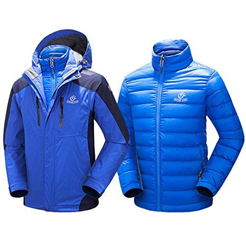 emansmoer Kinder 3 in 1 Outdoorjacke mit Steppjacke Daunenjacke Wasserdicht Winddicht Winter Mantel Jungen Mädchen Sport Camping Wandern Ski Schnee Jacke (X-Large, Blau) (Ski-jacke Mädchen 18)
