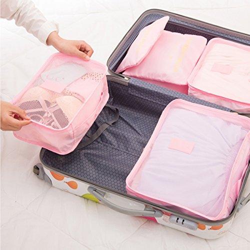 Travistar 6 Stück Kleidertaschen Reisetasche in Koffer Wäschebeutel Schuhbeutel Kosmetik Würfel Reisegepäck Veranstalter Orange