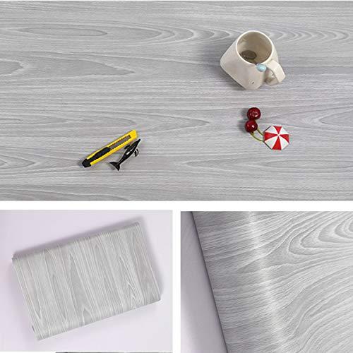 Carta da parati autoadesiva per mobili, design legno venato, colore grigio, per bancone, armadietti di cucina, muro, tavolo, porta, scrivania, larghezza 45 cm x lunghezza 10 m