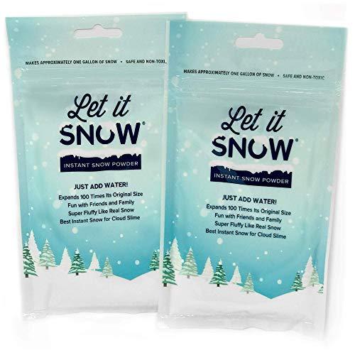 Let it Snow Nieve Polvo instantáneo Que Hace mágica Nieve Artificial Blanca mullida para el Limo de la Nube, Fiestas de cumpleaños temáticas congeladas 2 galones