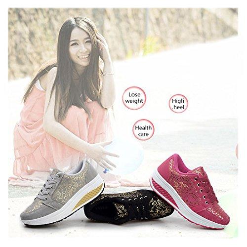 Frauen Plattform Walking Sneaker Slope mit Schuhen Breathable Sportschuhe Lässige Schuhe Laufschuhe Stieg rot