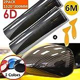 Mioke 6D Pellicola Adesiva Protettiva Carbonio,Super High Glossy,1520 x 200mm/300mm,Rivestimento Adesivo per Car Wrapping Auto Moto (Nero, 30cm)