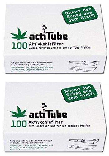 Filtro de carbo activo actiTube, 2 paquetes de 100 unidades