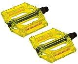 Pedali Resina Plastica WellGo per bicicletta Scatto Fisso/BMX/MTB - TUTTI COLORI (Giallo Fluo Trasparente)