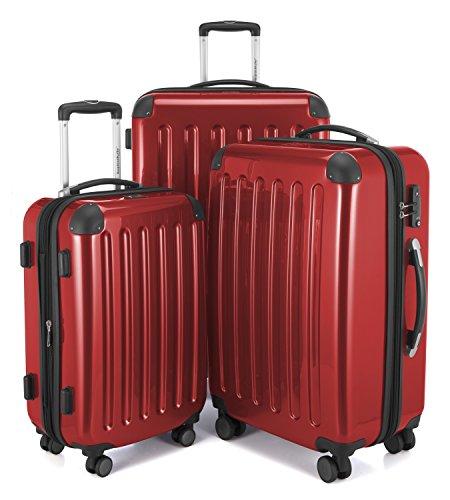 HAUPTSTADTKOFFER - Alex - Set di 3 valigie, 4 Doppie ruote, TSA, Nero brillante, (S, M & L), 235 litri, Colore  Rosso