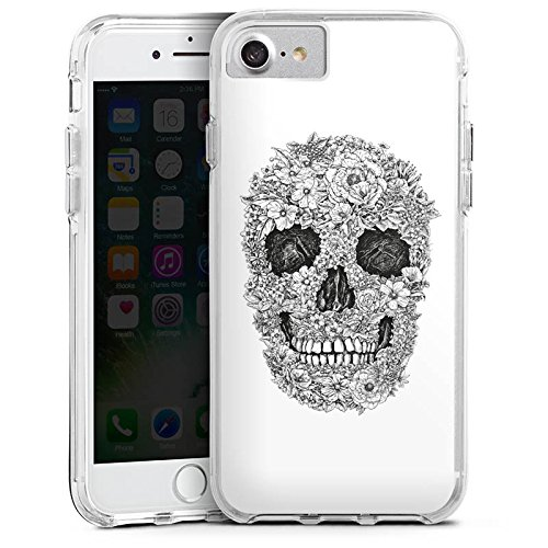 Apple iPhone 6 Bumper Hülle Bumper Case Glitzer Hülle Skull Totenkopf Flowers Bumper Case transparent