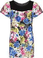 WearAll - Damen Übergröße Floral-Blumen-Druck Scoop Neck Short Sleeve Top Tunika - 4 Farben - Größe 40-54
