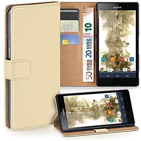 Sony Xperia Z Hülle Beige mit Kartenfach [OneFlow Wallet Cover] Handytasche Flip-Case Handyhülle Etui Kunst-Leder Tasche für Sony Xperia Z Case Book Schutzhülle