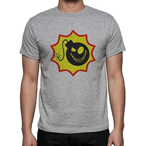 Bomb Atom Boom Fire Smile Herren T-Shirt Grau
