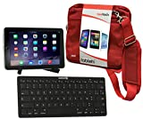 Navitech Bon Plan Compatible avec Tablettes Medion 2015 : Sacoche Rouge + Support + Clavier Bluetooth AZERTY