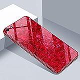 Shinyzone für iPhone 6S Plus Glas Hülle,für iPhone 6 Plus Hülle-[9H Gehärtetes Glas Zurück Hülle] mit Weich TPU+Diamant Strass Bumper,Kratzfest Hybrid Starre Handy Schutzhülle,Rot