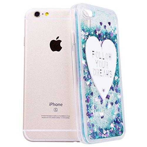 """GrandEver Coque iPhone 6 / 6s 4.7"""" Cœur Motif Design Transparente à Paillette Rose Dur Plastique PC Glitter Liquide Crystal Antichoc Case Etui Housse pour iPhone 6s / iPhone 6 3"""