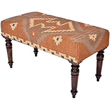 Homescapes Upholstered Kilim Bench Footstool Or Rectangular Coffee Table  Red Handmade Solid Wood Frame With Traditional